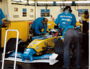 Alonso in the Renault garage although testing for Jaguar